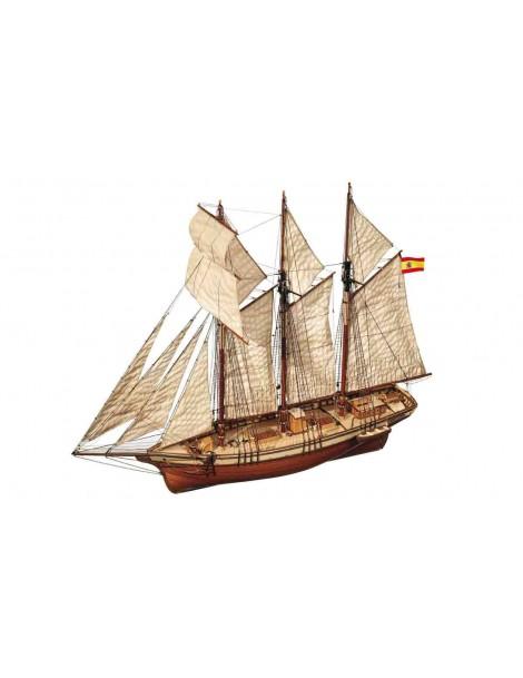 Barco Estatico de Epoca en Madera, CALA ESMERALDA, fabricante Occre. Maqueta Barco época. Montaje barco. Bilti Hobby.