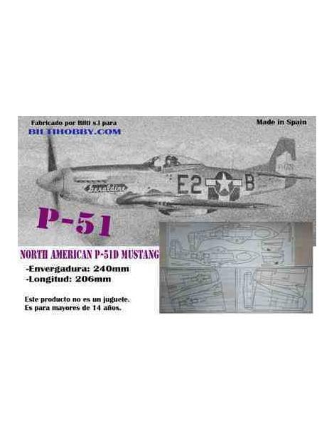 AVION MADERA BALSA P-51 MUSTANG