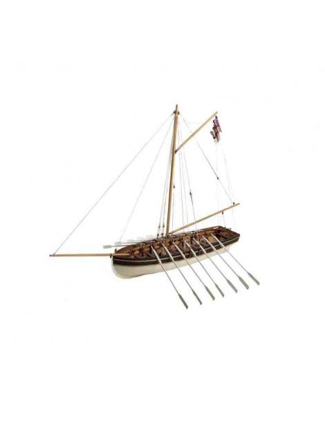 Barco Estático de Época en Madera, H.M.S. AGAMEMNOM Lancha del Capitán Nelson, fabricante Disarmodel